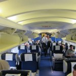 The business class cabin on the top deck of the 747, rows 2x2 configuration.