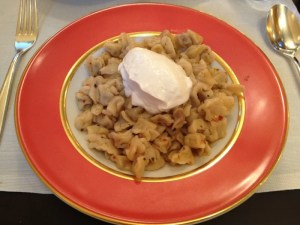 Our delicious lunch at the hotel: manti (Turkish ravioli) with chili flakes, yogurt and brown butter.