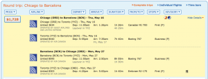 Chicago to Barcelona on Star Alliance for $1,728 in May