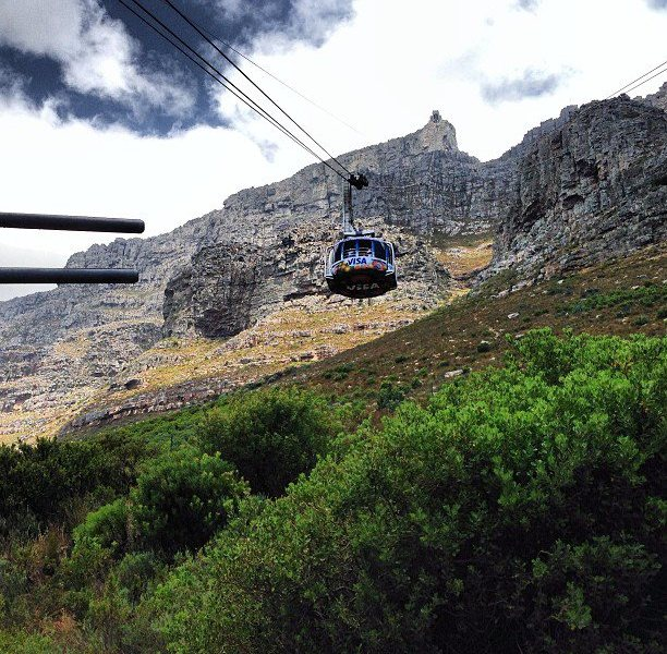 Taking the cable car up Table Mountain in Cape Town.