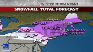 Winter Storm Nemo is forecast to dump as much as 2 feet of snow on the east coast. Photo credit: weather.com