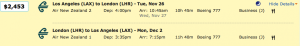 Los Angeles to London on Air New Zealand for $2,453.