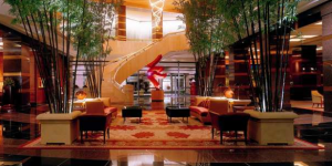 Lobby of the Conrad Centennial Hotel.