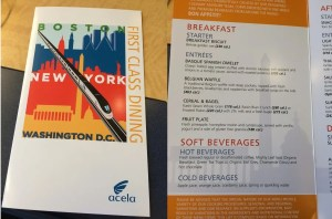 First class dining menu and breakfast options.