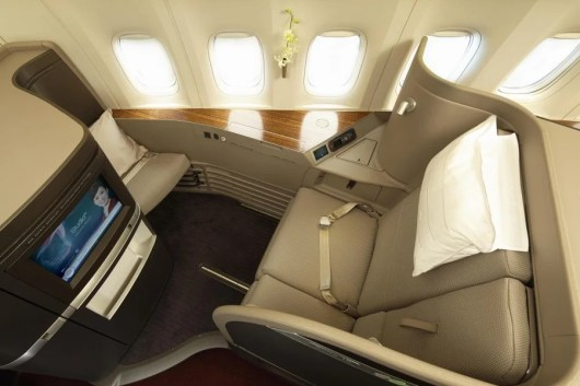 Cathay Pacific first class seats are enormous.