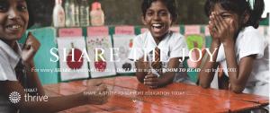 Share on social media so Hyatt Thrive will donate towards Room to Read.