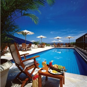 The rooftop pool at the JW Marriott Rio.