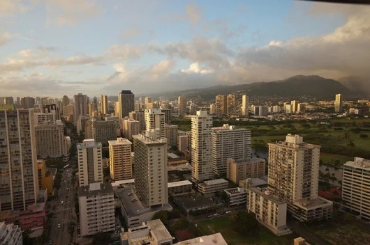 View of Waikiki's downtown from the 37th floor of the Hilton Waikiki