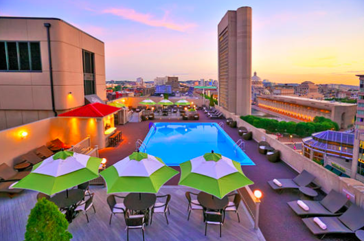 Boston's Colonnade Hotel has the city's only rooftop pool bar