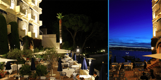 The outdoor restaurant and a stunning nighttime view of the Ligurian Sea