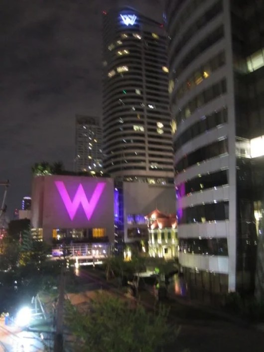 The W Bangkok glowing at night