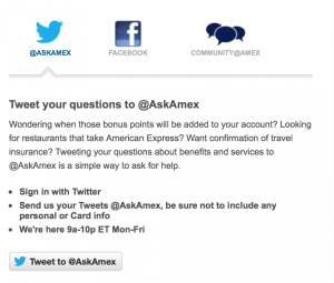Contact American Express via Twitter