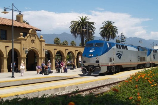 Amtrak's Pacific Surfliner pulls into Santa Barbara's train station