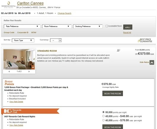 The Carlton Intercontinental in Cannes France sells for about $750 a night, but you can use your free night certificate.