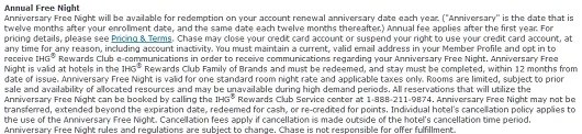 Here are the exact terms and conditions of the annual free night certificate, but cardholders report that these terms are not enforced in some circumstances.