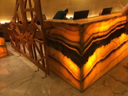 The glowing front desk is an alluring natural feature