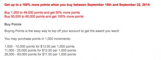 Purchased points come out to as little as .58 cents per point with this offer.