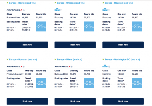 Air France Promo Awards to/from North America