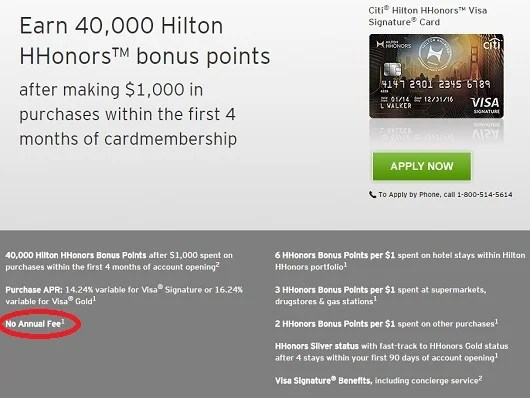 Citi offers a standard Hilton HHonors rewards card with no annual fee.