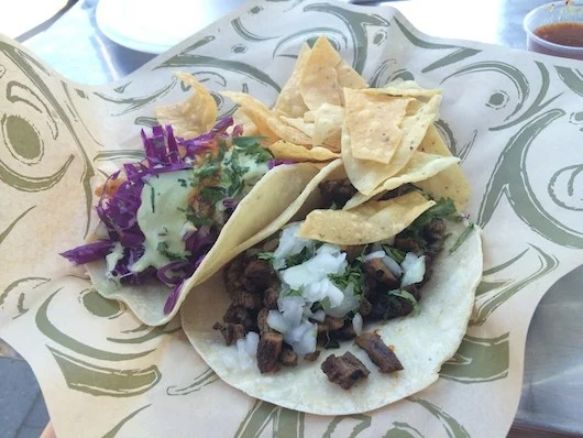 Crispy shrimp and carne asada tacos at Casa Linda. Photo by Shayne Benowitz.