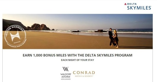 Earn Delta Skymiles for Waldorf Astoria and Hilton Conrad stays