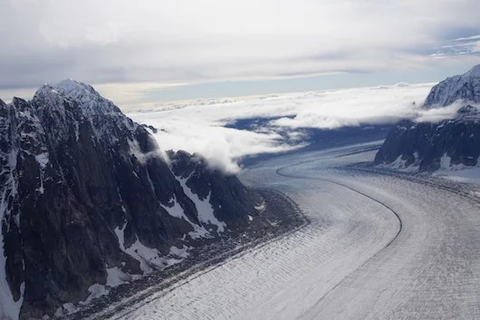 Glaciers crawling through the mountains