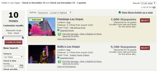 Las Vegas Starwood Caesars prices Flamingo Ballys