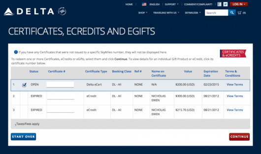 Delta's vouchers are very restrictive, but at least you can redeem them online.