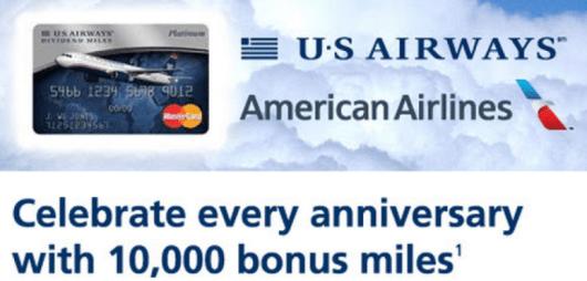 US Airways cardholders will still receive the 10,000 anniversary bonus.