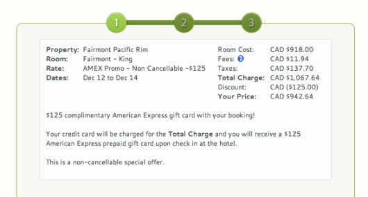 December 12-14, taxes and fees at the Fairmont Pacific Rim add up to $149.64.