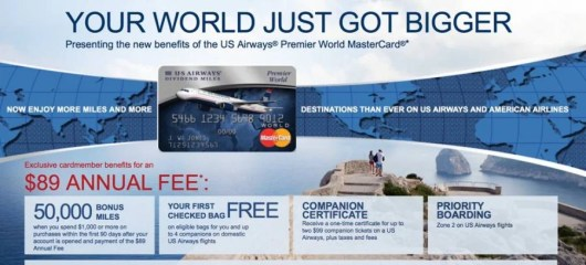 US Airways currently has a targeted 50,000 sign-up bonus offer.