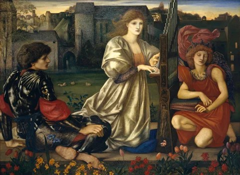 "Sir Edward Burne-Jones' medieval-inspired oil painting, ""The Love Song"" (1868–77)"