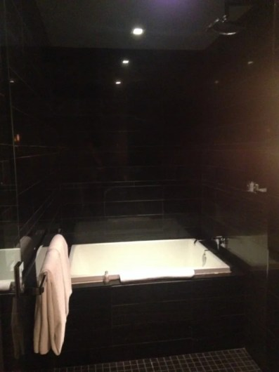 The large walk-in shower was next to a deep soaking tub.