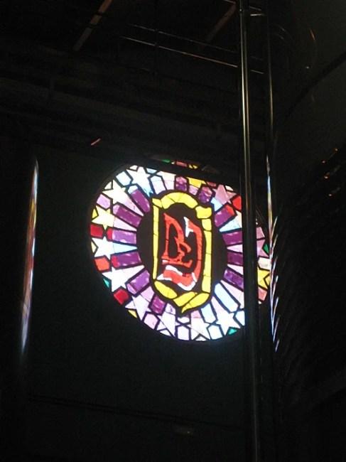 A stained glass, church like window at the Domeco D Jarauta winery. Photo by Lori Zaino.