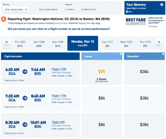 JetBlue fare results