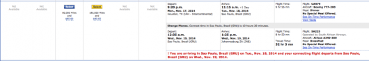 This itinerary to Johannesburg via Brazil seems to be an exception to the routing rules.
