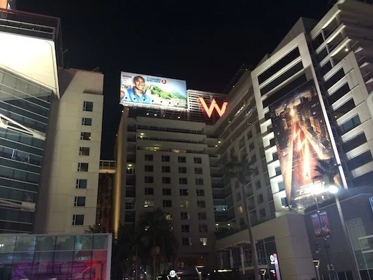 Facade of the W Hollywood. Wassup Kobe?