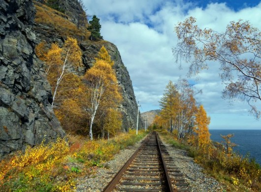 Passing by Lake Baikal on the Trans-Siberian railway. Photo courtesy of Shutterstock.