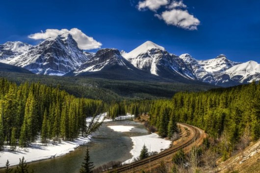 The amazing scenery near Banff from the Rocky Mountaineer. Photo courtesy of Shutterstock.