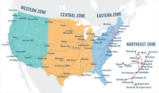 Amtrak's redemption chart is split into several zones