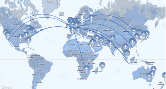 Use Airbus's interactive map to find out where the A380 is flying (well, at least 2 months ago).