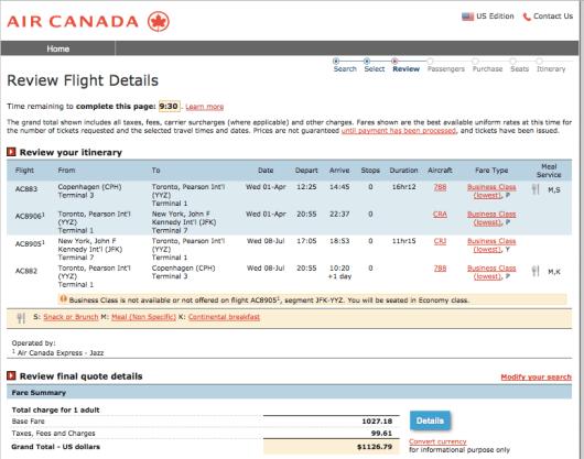 Air Canada CPH JFK 787