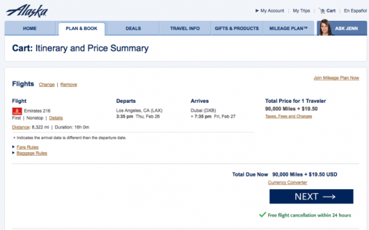 A sample Emirates first class award from LAX-Dubai in February bookable on Alaska's website.