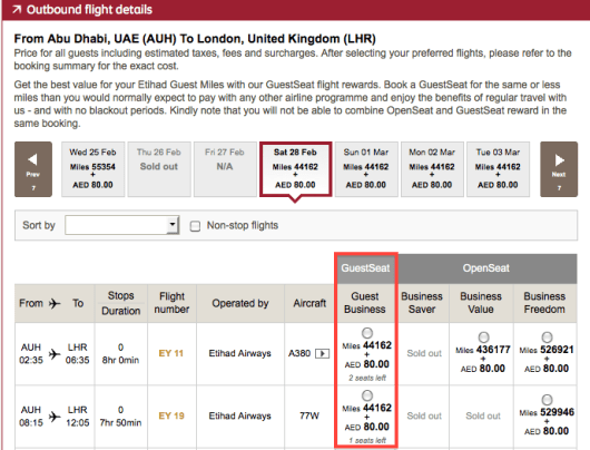 "Look for ""Guest"" saver space to search for awards using partner miles."