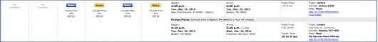 A sample Boston-Frankfurt itinerary.