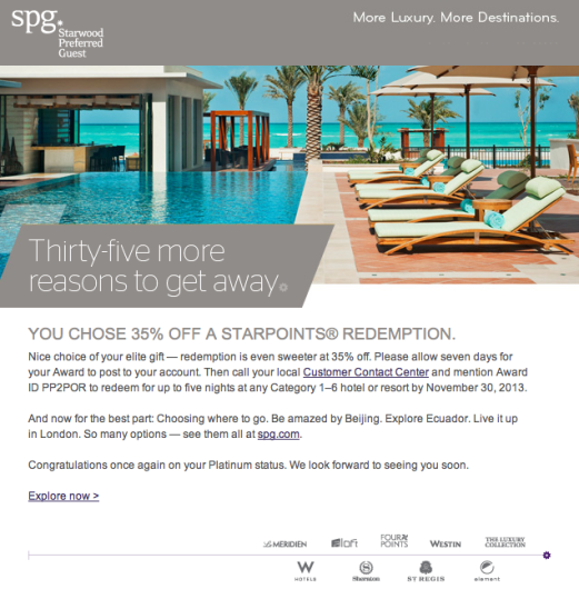 I chose 35% off a redemption in 2013 as my SPG Platinum requalification gift.