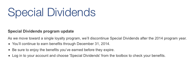 US Airways Special Dividends