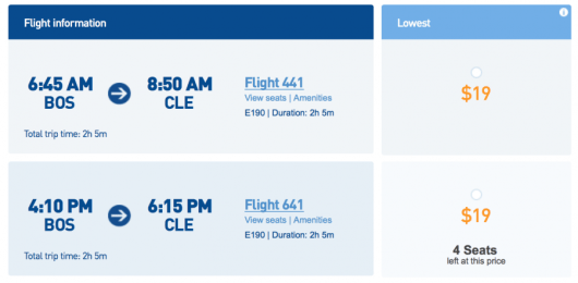 JetBlue is launching new service from Boston to Cleveland with fares for $19 each-way.