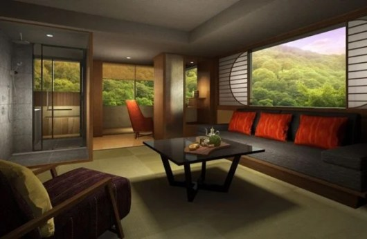 A guest room at the Suiran Kyoto - a Luxury Collection hotel.