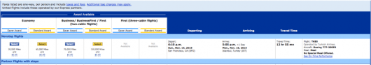 Award availability showing on United for Turkish's new SFO-IST route.